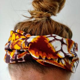 Geel met bruine haarband van Afrikaanse stof