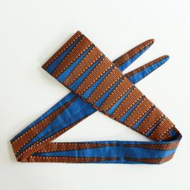 Blauwe wikkelriem van Afrikaanse stof