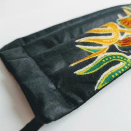 Niet-medisch mondkapje Afrikaanse print | Groen gele bladeren op zwart