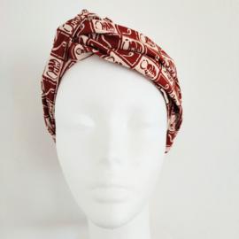 Wit/roodbruin haarband van Afrikaanse stof