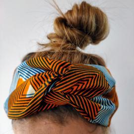 Oranje en blauwgestreepte haarband van Afrikaanse stof