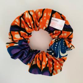 Oranje scrunchie van Afrikaanse stof