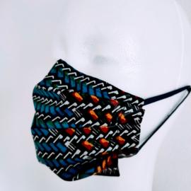 Niet-medisch mondkapje Afrikaanse print | Blauwkleurige geometrie