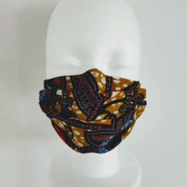 Niet-medisch mondkapje Afrikaanse print   Blauwe bloemen