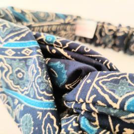 Donkerblauwe Batik haarband van Afrikaanse stof