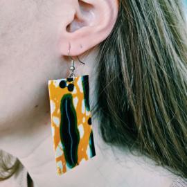 Geel met blauw Afrikaanse oorbellen hangers