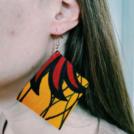 Grote gele Afrikaanse oorbellen hangers