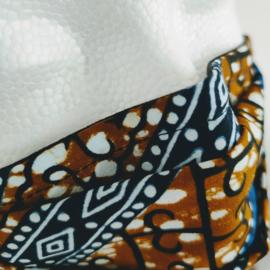 Niet-medisch mondkapje Afrikaanse print | Blauw en bruine batik