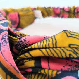 Roze Bloemen haarband van Afrikaanse stof