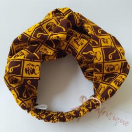 Geel/Bruin haarband van Afrikaanse stof