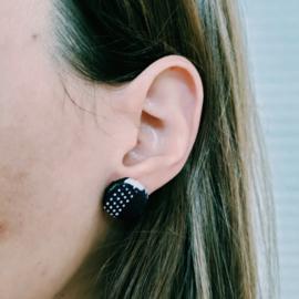 Grote blauw met witte stippen Afrikaanse oorbellen knopjes