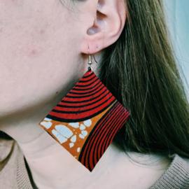 Grote rood met bruin Afrikaanse oorbellen hangers