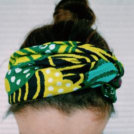 Groen/Geel haarband van Afrikaanse stof