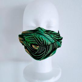 Niet-medisch mondkapje Afrikaanse print | Groen met goud