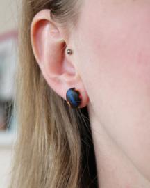 Blauwe Afrikaanse oorbellen knopjes