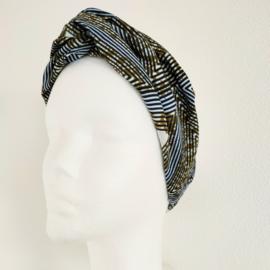 Groengestreepte haarband van Afrikaanse stof