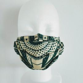 Niet-medisch mondkapje Afrikaanse print | Groen op wit
