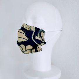 Niet-medisch mondkapje Afrikaanse print | Wit op blauw