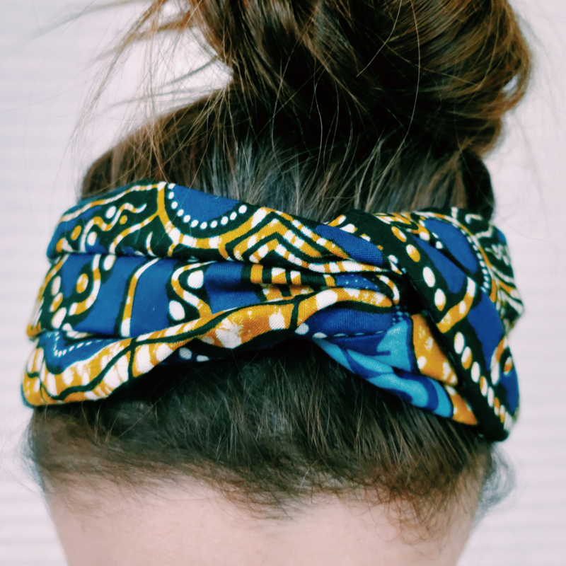 Blauwe haarband van Afrikaanse stof