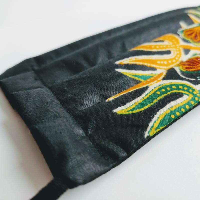 Niet-medisch mondkapje Afrikaanse print   Groen gele bladeren op zwart
