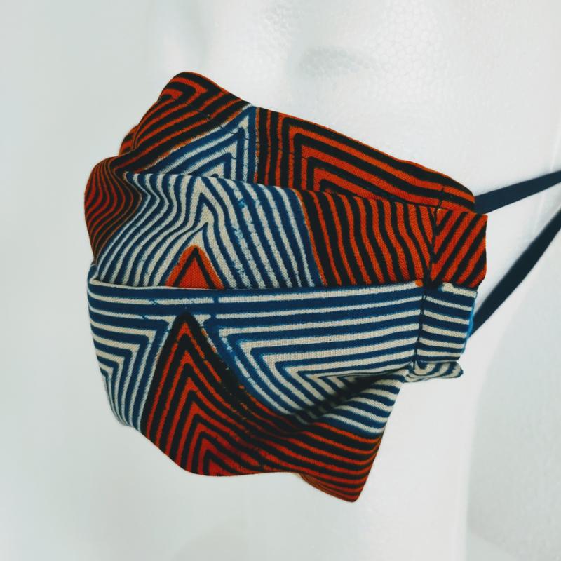 Niet-medisch mondkapje Afrikaanse print | Blauwe strepen