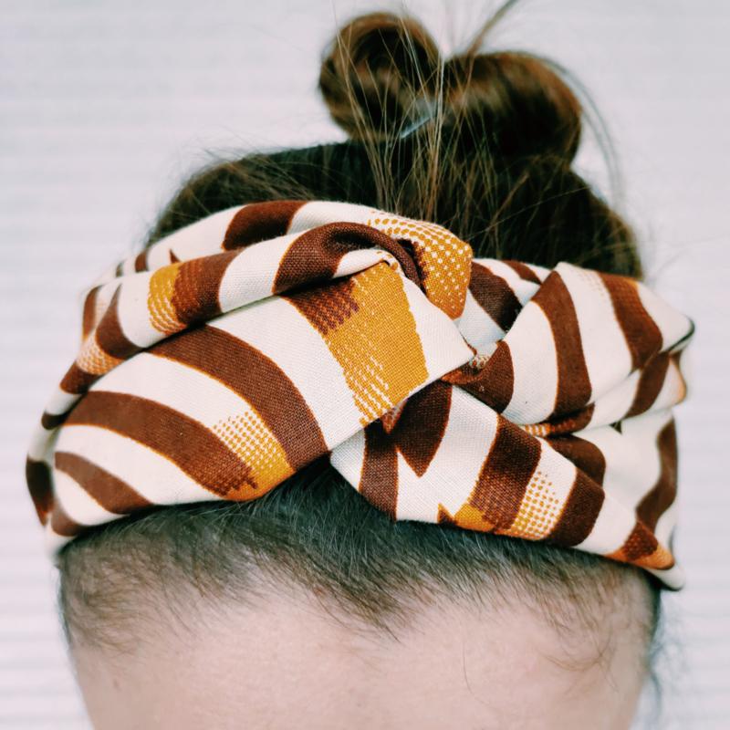 Zebraprint haarband van Afrikaanse stof