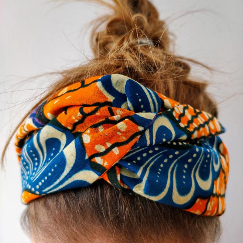 Oranje en blauwe haarband van Afrikaanse stof