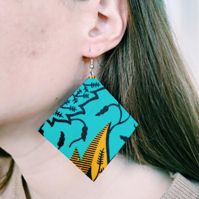 Grote zeegroene Afrikaanse oorbellen hangers
