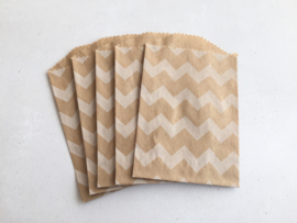 Kraft Bags Chevron Wit (5 stuks)