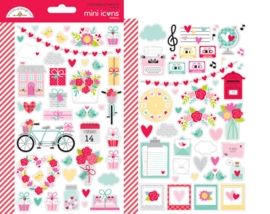 Doodlebug Love Notes Mini Icons Stickers (6583)