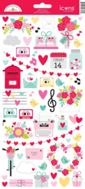 Doodlebug Love Notes Icons Stickers (6606)
