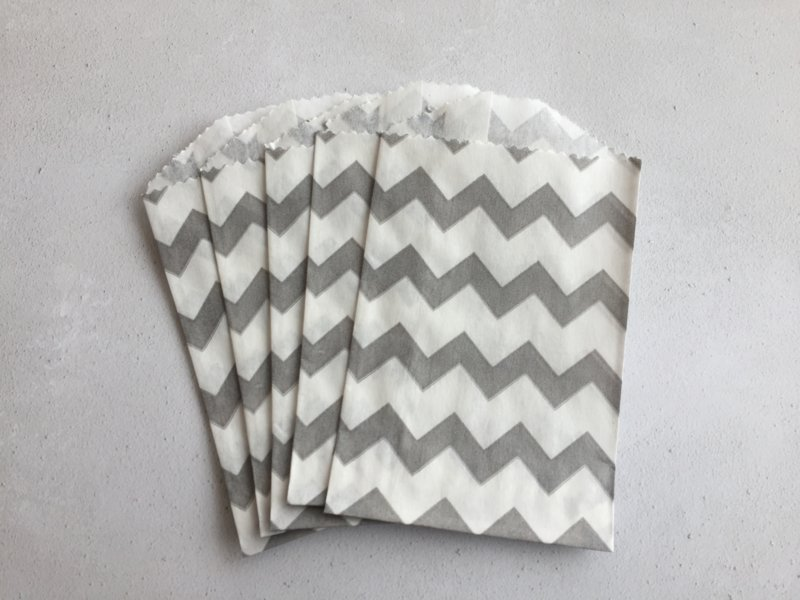 Small Bags Chevron Grijs (5 stuks)