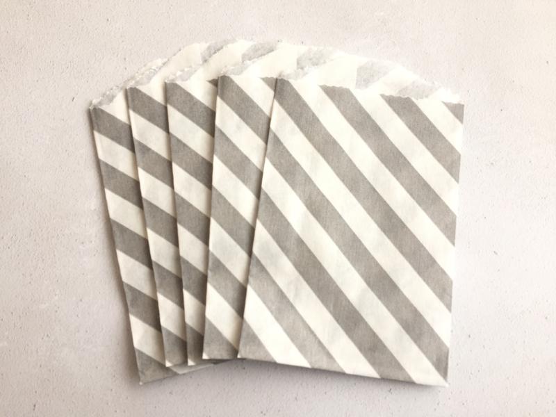Small Bags Streep Diagonaal Grijs (5 stuks)