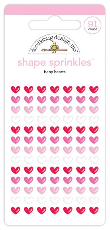 Doodlebug Love Notes - Shape Sprinkles Baby Hearts