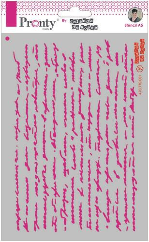 Pronty Mask stencil A5 Script text 470.770.001 by Jolanda