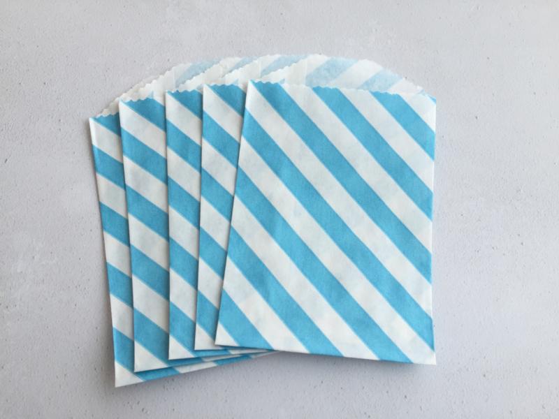 Small Bags Streep Diagonaal Aqua (5 stuks)