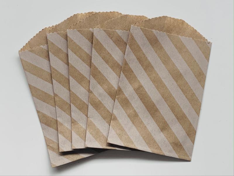 Kraft Bags Streep Wit (5 stuks)