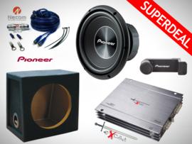 1500W Pioneer Subwoofer + MDF Kist + Excalibur Versterker + Kabelset + Pioneer Telefoonhouder
