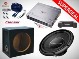 1400W Pioneer Subwoofer + MDF Kist + Excalibur Versterker + Kabelset + Telefoonhouder
