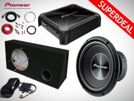 1500W Pioneer Subwoofer + 48L MDF Kist + Pioneer Monoblock + Kabelset