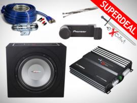 1000W Excalibur Subwoofer + Versterker + Kabelset + Telefoonhouder