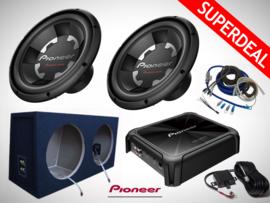 2800W Pioneer Subwoofers + 2x28L MDF Kist + Pioneer Monoblock + Kabelset