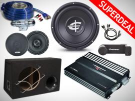 600W Caliber Subwoofer + Versterker + Speakers + Kabelset + Splitter + Telefoonhouder + OFC wire