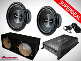 3000W Pioneer Subwoofers + MDF Kist + Pioneer GM-D9601 Monoblock + Controller