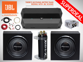 2800W Pioneer Subwoofers + JBL Monoblock + Condensator + Accuklem + 35mm2 Kabelset + Bass Controller