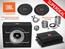 1000W JBL Stage 1200B Subwoofer + JBL 4-ch Versterker + JBL Ovale Speakers + OFC Kabelset + Splitter