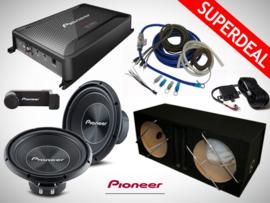 3000W Pioneer Subwoofers + MDF Kist + Pioneer Monoblock + Controller + Kabelset + OFC Wires + Telefoonhouder