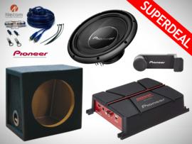 1400W Pioneer Subwoofer + 28L Kist + Pioneer Versterker + Kabelset + Carholder