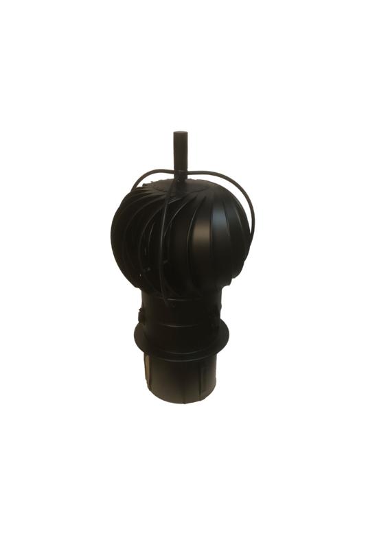 Turbowent draaikap met uitwendige lagers (insteek, 150 mm) ZWART