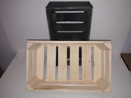 Veiling kistje  blank hout rechth. 34*20*12/14 cm